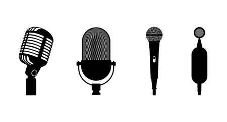 Four microphones retro classic and modern set. Microphone black silhouette on white background. Music icon mic. Mike flat design vector eps illustration