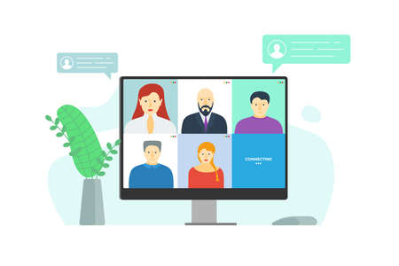 People group on monitor screen taking part in online conference. Home work meeting and distance education webinar or videoconferencing. Video conferencing and web communication vector eps illustration