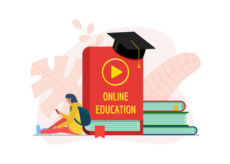 Online education course design concept. Remote e-learning student teenager girl with smartphone and library books stack. Distance studying and internet teaching knowledge flat eps banner Illustration