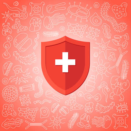 Hygienic medical prevention red shield protecting from virus germs and bacteria. Immune system concept. Microbiology and medicine flat vector illustration banner design