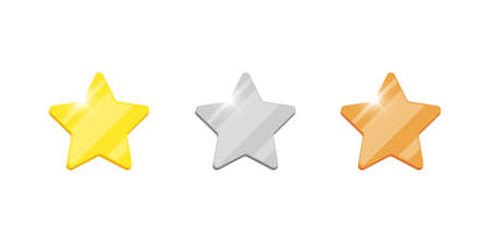 Gold silver bronze badge star reward icon set for computer video game or mobile apps animation. First second third place bonus achievement award. Winner trophy isolated flat sign vector illustration Illustration