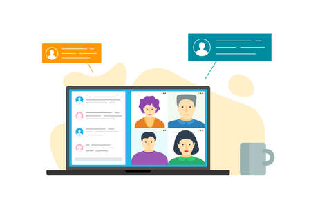 People group on laptop screen taking part in online conference. Home work meeting and distance education webinar or videoconferencing. Video conferencing and web communication chat vector illustration