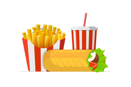 Fast sreet food takeaway lunch meal set. Shawarma doner kebab roll with french fries pack and beverage soft drink soda cup. Flat isolated strip packing eps vector illustration