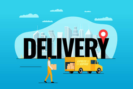 Express delivery service lorry truck ordering concept. Big inscription with gps pin geotag on modern city and male courier with package box. Fast cargo logistics van flat vector eps illustration