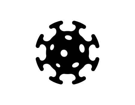 Coronavirus bacteria cell black icon. 2019-nCoV novel corona virus outbreak sign. Respiratory infection risk disease and covid-19 flu epidemic emblem. Vector isolated eps illustration