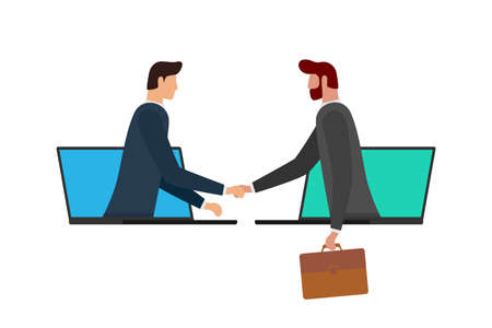 Two businessman make deal on distance and shaking hands on laptop screens. Web online business agreement communication conference concept. Virtual handshake cooperation vector flat eps illustration