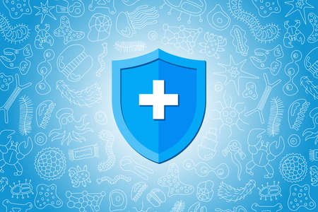 Immunity hygienic medical prevention shield protecting from virus germs and bacteria. Immune system concept. Microbiology and medicine flat vector illustration banner design