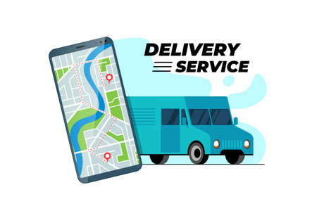 Smartphone with delivery truck transfer route and geotag gps location pin on city map. Online logistic order service mobile app concept. Lorry express cargo shipping positioning application concept