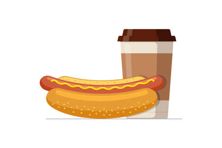 Fast food hot dog and disposable paper coffee cup. Hotdog sausage in bread bun with hot beverage. Fast food vector isolated flat eps illustration
