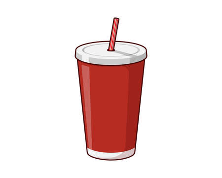 Red disposable paper or plastic beverage cup packaging template with drinking straw for soda or fresh juice cocktail. Vector flat illustration isolated on white background Illustration