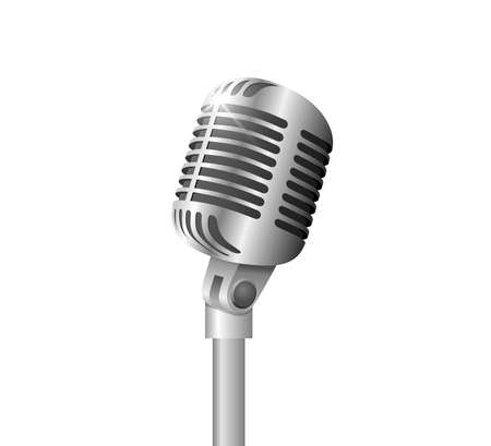 Retro vintage metal microphone on stand on white background. Mic with flare. Music, voice, record icon. Recording studio symbol. Realistic silver style vector eps illustration