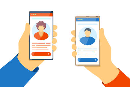Web video mobile conference. Man and woman use video call on smartphone screens. Online meeting or dating concept. Communication app vector eps flat design