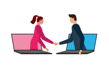 Business man and woman make deal on distance and shaking hands on laptop screens. Web online agreement communication conference concept. Virtual handshake cooperation vector flat illustration Illustration