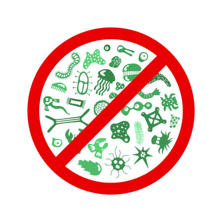 Stop spread virus sign. Cartoon germ characters isolated vector eps illustration on white background. Cute fly bacterium infection danger. Microbe viruses and diseases protection symbol