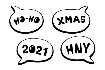 Holiday cartoon comic speech bubble sticker collection with various messages HO-HO XMAS HNY 2021. Merry Christmas and Happy New Year label set eps vector illustration