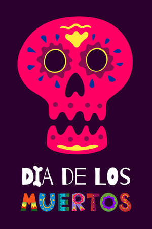 Mexican Dead Day Dia de Los Muertos poster. Mexico national ritual festival greeting card with hand drawn decoration lettering and sugar skull skeleton on dark background. Vector eps illustration