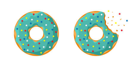 Cartoon colorful tasty donut whole and bitten set isolated on white background. Green turquoise glazed doughnut top view for cake cafe decoration or bakery menu design. Vector flat illustration