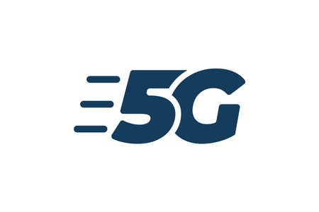 5G network connection business symbol. 5th generation wireless high speed internet technology sign. Vector 5 G communication emblem flat eps design template isolated
