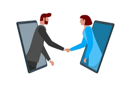 Businessman and woman shaking hands through smartphone screens as online deal agreement. Mobile conference network meeting and handshake. Two person remote negotiations concept. Vector illustration