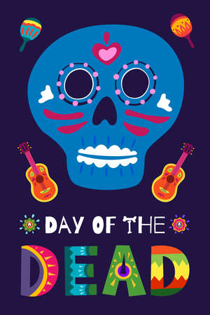 Mexican Dead Day Dia de Los Muertos poster. Mexico national ritual festival vertical greeting card with hand drawn decoration lettering and sugar skull skeleton on dark background. Vector illustration