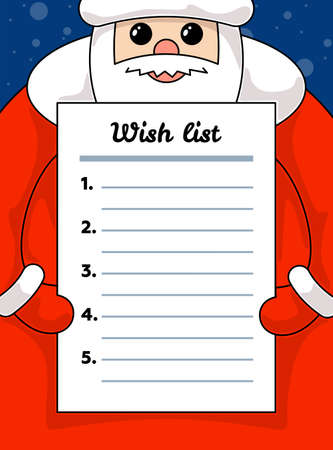 Cute cartoon kawaii Santa Claus holding wish list blank paper. Merry Christmas and Happy New Year holiday letter vector illustration empty form sheet wishlist 矢量图片