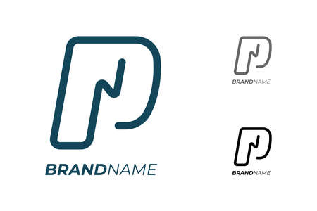 Initial letter P with electrical lightning for technology business identity logotype concept. Electric car parking and charging icon. Power energy brand  design template illustration Illusztráció