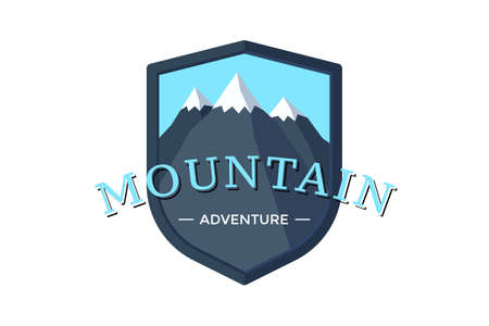 Mountain Adventure shield  badge for extreme tourism and sport hiking. Outdoor nature rock camping label vector illustration