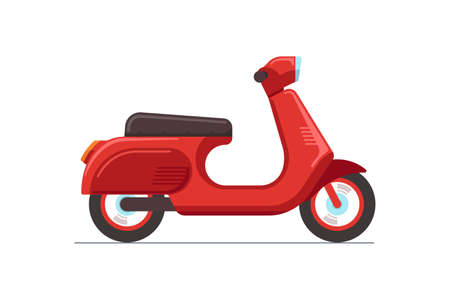 Red retro vintage scooter isolated on white bacground. Traditional recreational motorcycle transport. Moped delivery symbol vector eps illustration