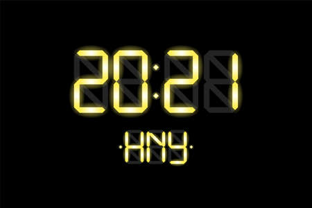 Happy New Year xmas holiday card with digital lcd electronic display clock number 2021 and HNY gold letters on black background. Merry Christmas celebration greeting calendar vector eps illustration
