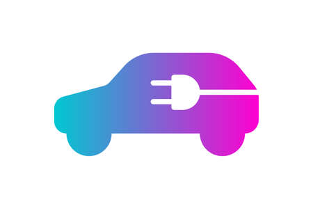 Electric car icon. Electrical plug in automobile silhouette gradient symbol. Eco friendly electric auto vehicle charging station  concept. Vector eps electricity transport illustration