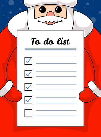 Kawaii funny Santa Claus holding letter to do list paper. Christmas and Happy New Year holiday task and promises plan empty form cartoon vector eps illustration Illusztráció