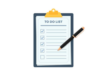 Clipboard with to do planning check list. Pen marked checklist on paper todo form flat eps vector illustration