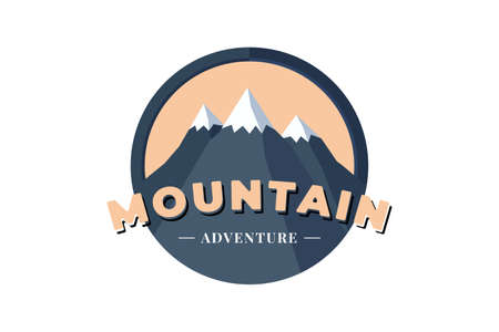Mountain Adventure circle shield  badge for extreme tourism and sport hiking. Outdoor nature camping label vector eps illustration