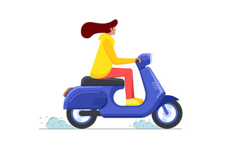 Female riding retro style scooter. Woman drives blue moped. Girl vintage motorcycle driver. Hipster on bike life in motion lifestyle vector eps illustration Illusztráció