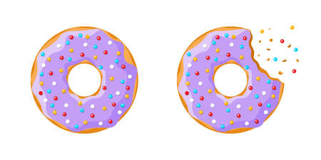 Cartoon colorful tasty donut whole and bitten set isolated on white background. Purple glazed doughnut top view for cake cafe decoration or bakery menu design. Vector flat eps illustration