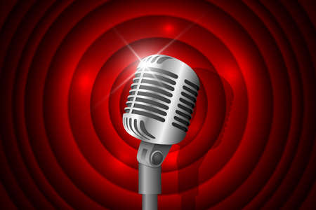 Silver metal vintage microphone illuminated and red circle background. Retro music concept. Mic on empty theatre stage. Stand up comedy night show. Karaoke party vector  art illustration Stock fotó