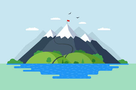 High mountain with green hills forest and blue lake nature landscape. Climbers route trail to rock top and red flag on peak. Victory achievement and overcoming difficulties symbol vector illustration Illusztráció