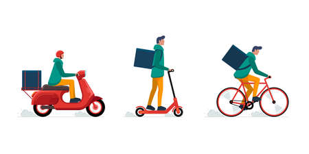 Express delivery courier service concept set. Online fast logistic male on bicycle or electric scooter moped with orders parcel box. Vector flat illustration