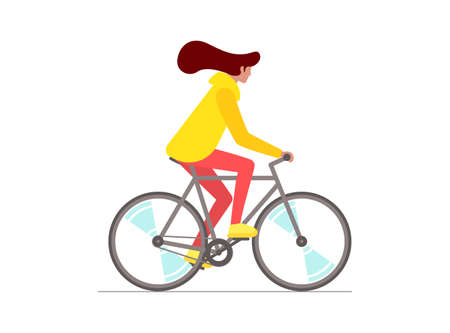 Hipster female riding bike. Young woman cyclist isolated on white background. Stylish girl on bicycle flat vector eps illustration