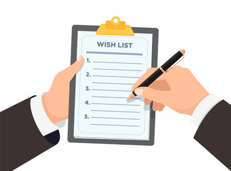 Businessman hands holding clipboard with wish list. Business man with pen writes down wishes on paper wishlist form flat eps vector illustration