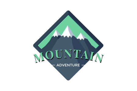 Mountain Adventure shield logo badge for extreme tourism and sport hiking. Outdoor nature rock camping square label vector eps illustration