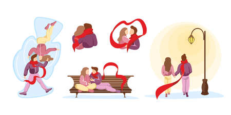 Young happy couple in love spend time together in various winter relationship scenes. Man and woman during romantic date. Vector vale and female walking, hugging and kissing in park illustration