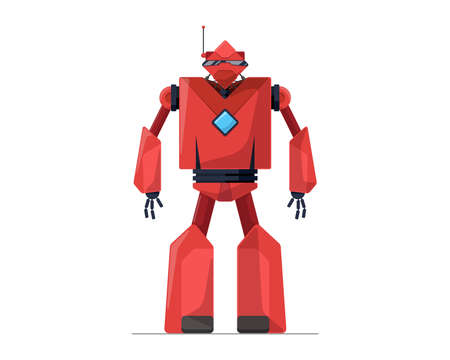 Robot red detailed cartoon character. Future robotic technology concept. Friendly mechanical autonomous computer humanoid artificial intelligence assistant vector eps illustration