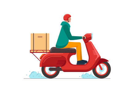 Express delivery service courier on scooter concept. Online fast logistic male on bicycle moped with orders parcel box. Goods or food carrying vector isolated flat illustration