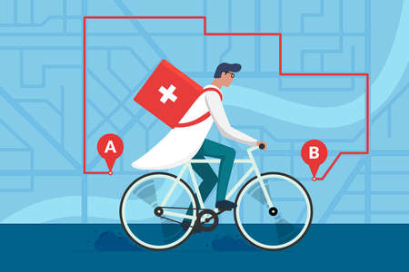 Medicine pharmacy delivery. Male doctor riding bicycle with medical surgical sanitary box first aid on city street map plan and navigation route. Therapist pharmacist on cycle vector flat illustration Illusztráció