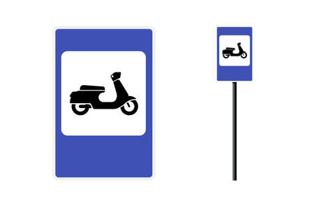 Moped motor scooter parking zone blue rectangular roadsign for city mobility transport. Vector retro motorcycle motorbike traffic regulation road sign isolated illustration