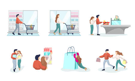 Young couple shopping in supermarket. Male and female buying products in grocery store. Man and woman shop customers purchase and consumption goods set. Cartoon mall consumers vector illustration