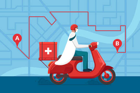 Medicine motorbike delivery pharmacy. Male doctor in helmet riding retro scooter with medical surgical sanitary box first aid on city street map plan with navigation route. Vector flat illustration