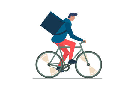 Young male courier with backpack box riding bicycle and carries goods and food package. Fast cycling eco delivery order service. Isolated flat vector illustration