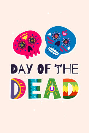 Mexican Dead Day Dia de Los Muertos vertical poster. Mexico national ritual festival greeting card with hand drawn decoration lettering and sugar skull skeleton. Vector illustration Illusztráció